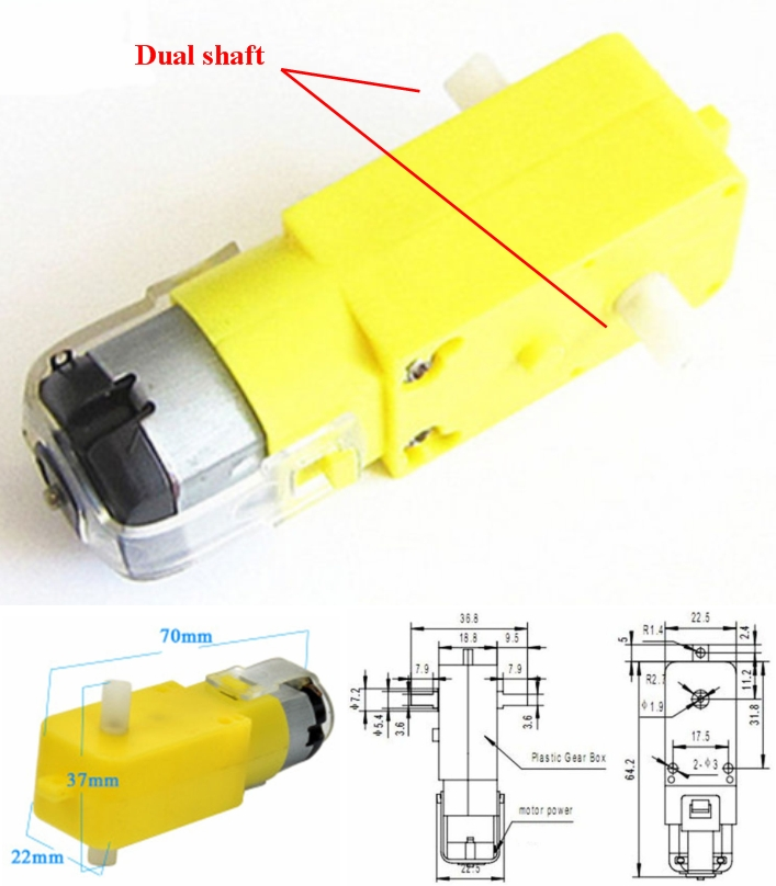 yellow DC robot gear motor 3 to 6v 180rpm