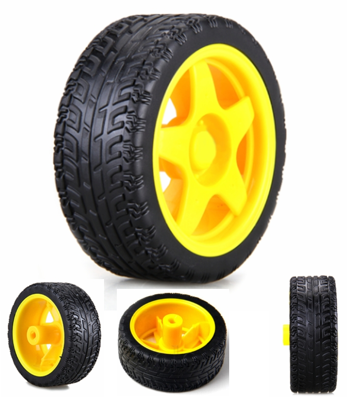 yellow Robot Plastic Tyre Wheel motor
