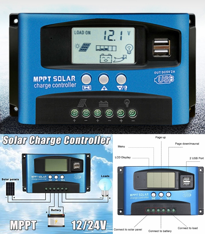 30A MPPT Solar Charge Controller 12V/24V LCD USB P