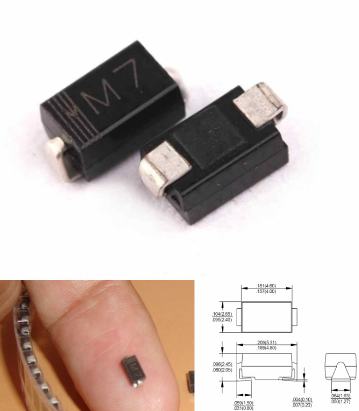 SMD rectifier diode 1N4007 M7 SMA 1A 1000V DO214AC