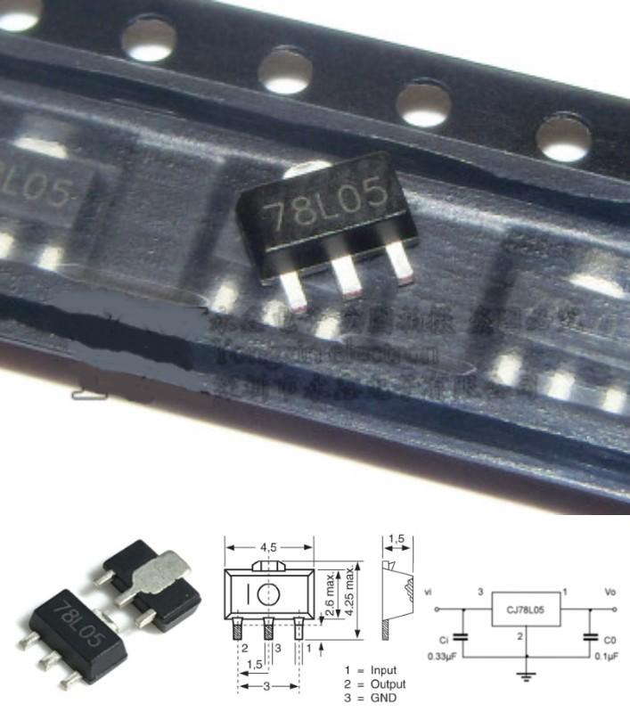 78L05 7805 Voltage Regulator 5V 100mA SOT-89 SMD