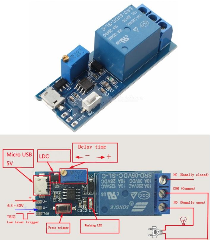 Trigger Delay Relay Timer Module Voltage 5V~30V