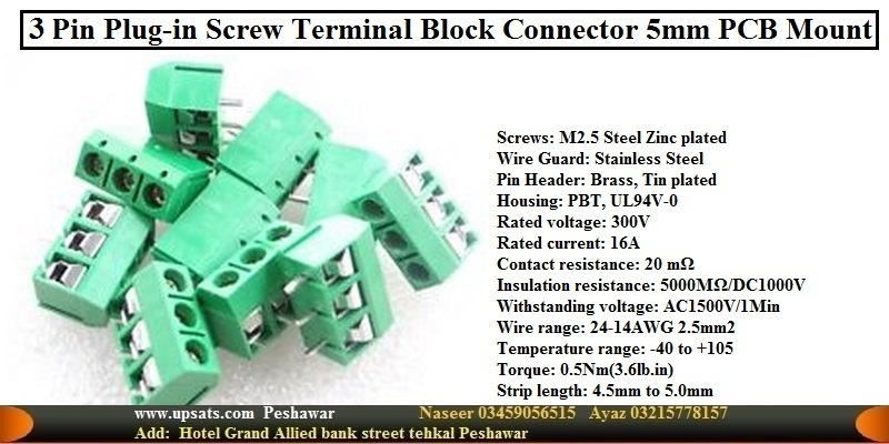 3pins  5.08mm  Blue  Terminal block