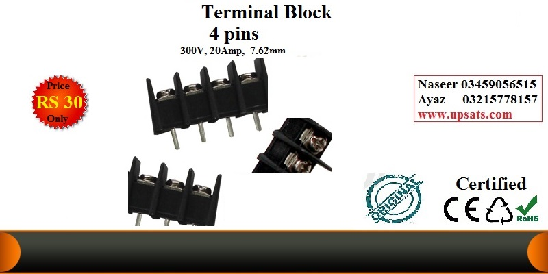 PCB  mount terminal block 4 pins   7.62mm