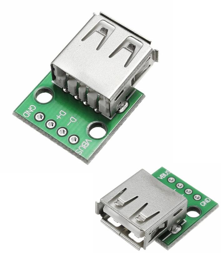 USB 2.0 Female Socket-DIP 2.54mm 4P Adapter Board