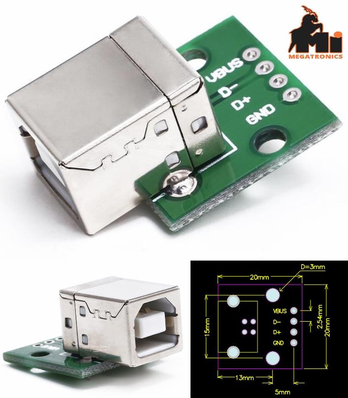 USB Type B Female to 2.54mm Header Breakout socket