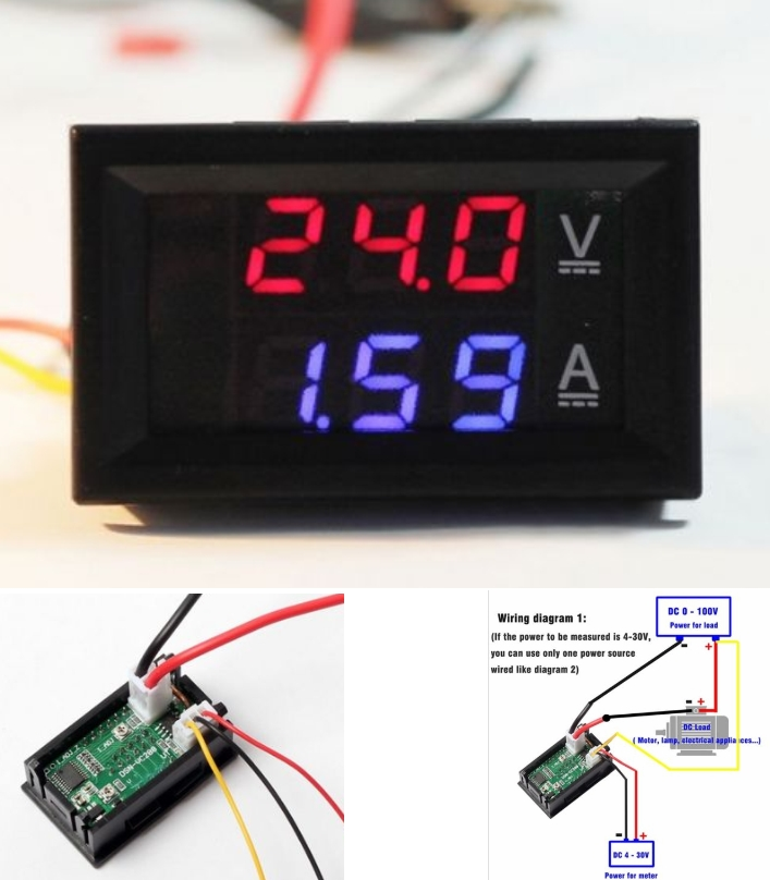 DC 0-100V 10A Voltmeter Ammeter Dual Color Display