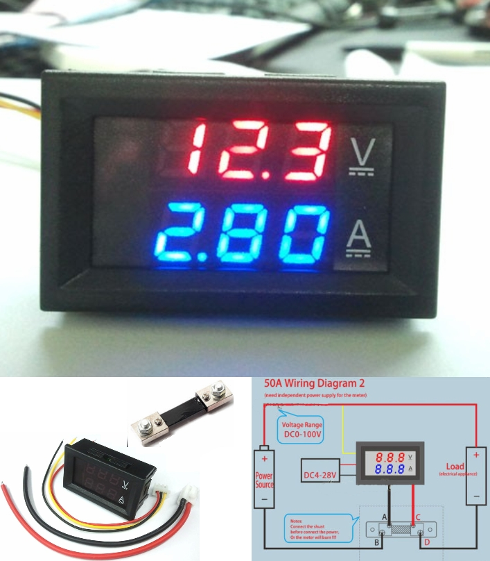 Voltmeter Ammeter+Shunt DC 100V 50A display panel