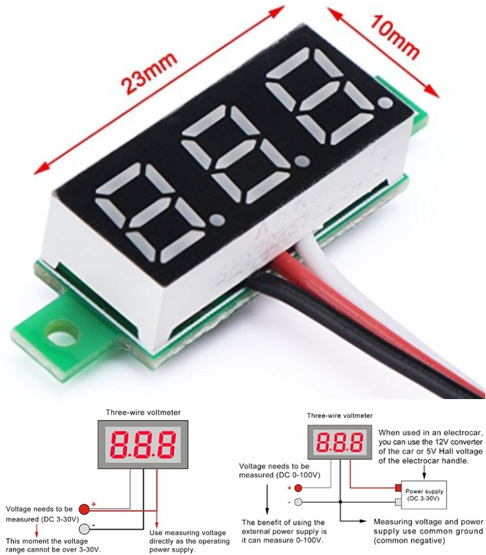 LED DC 0-100V Digital Voltmeter Panel Meter voltag