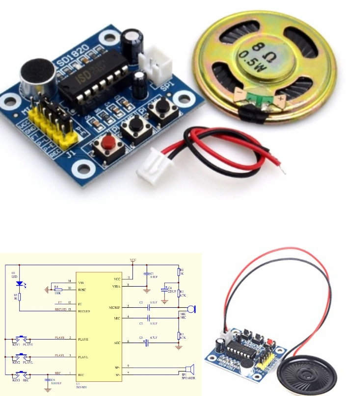 ISD1820 voice recording with MIC Speaker module