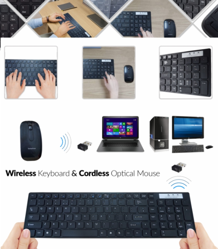 Slim 2.4GHZ Wireless Keyboard and Mouse Combo For