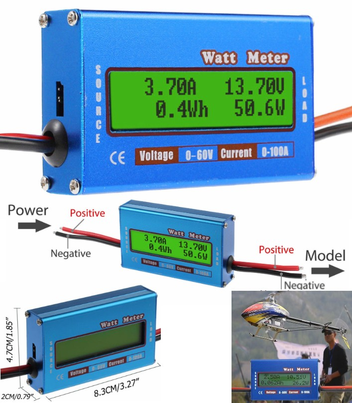 LCD Battery 60V 100A Watt Meter Voltage Amp monito