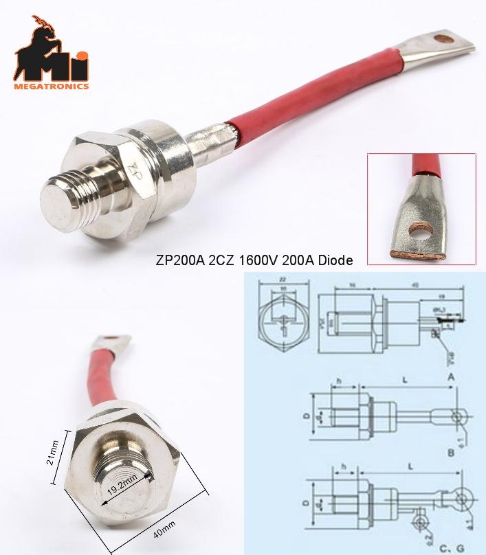 ZP200A 2CZ 1600V spiral rectifier diode anti-rever