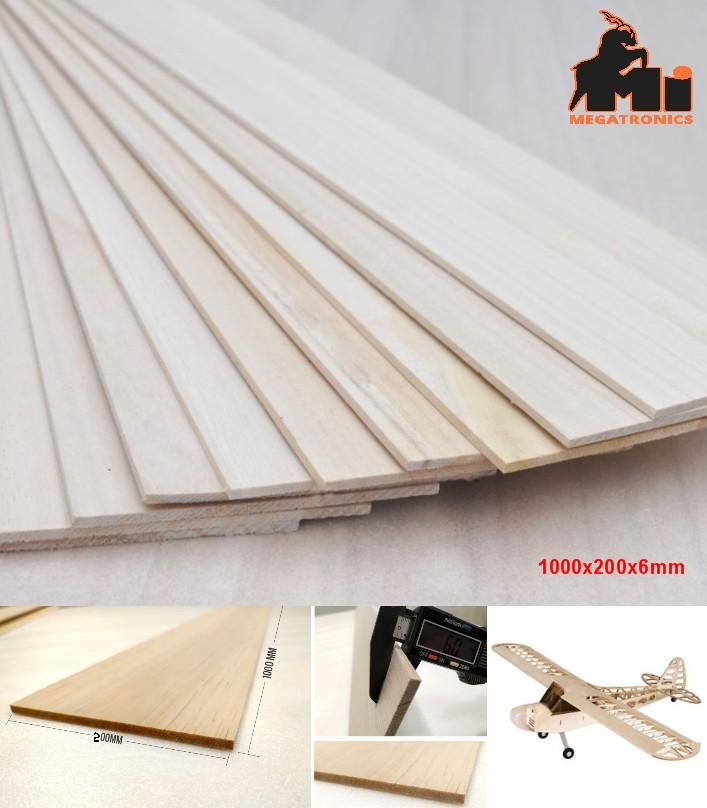 1000x200x6mm Balsa Wood Sheet Block for aircraft