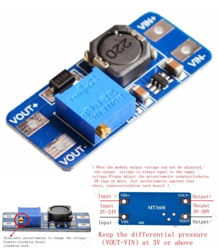 MT3608 DC-DC Voltage Step Up Adjustable Booster