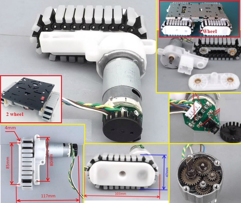 tank track robot motor with encoder and gear box