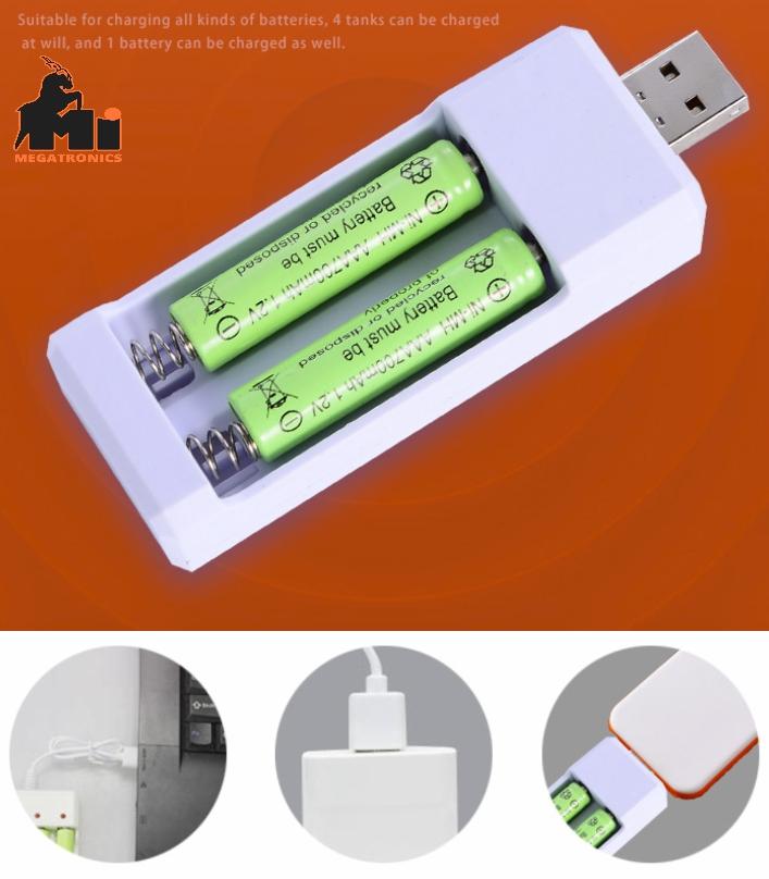 Dual slot USB 1.2V Ni-MH Ni-Cr AA/AAA battery charger