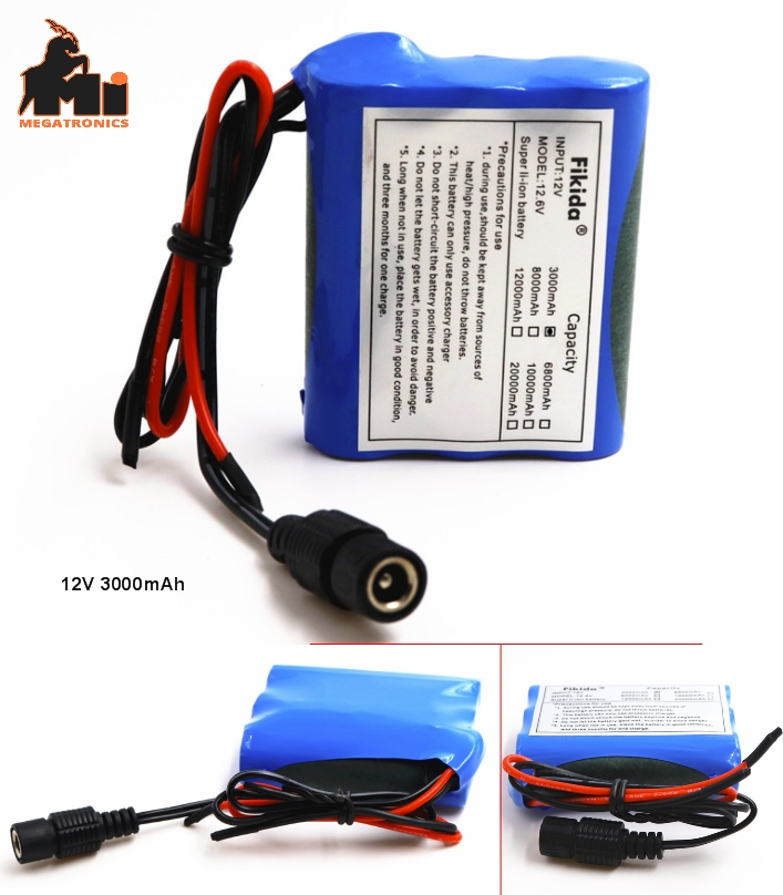 Arduino power supply 12V DC rechargeable battery cells 3000mAh with DC jack