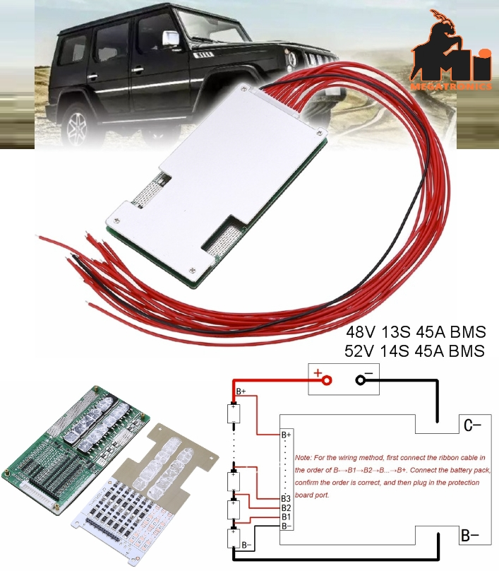 52V 48V 45A 13S 14S BMS Li-ion Lipolymer Batteries