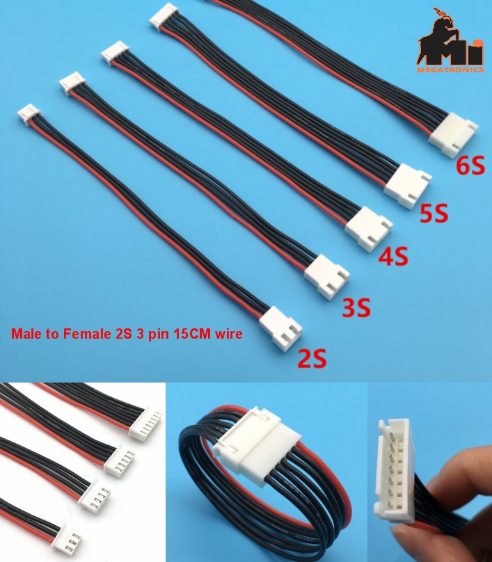 2S 3pin battery cable male to female double 15CM e