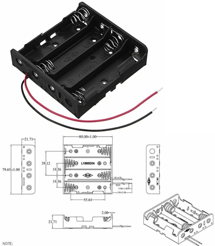 4x18650 14.8V Battery Holder Box Case+Leads+Spring