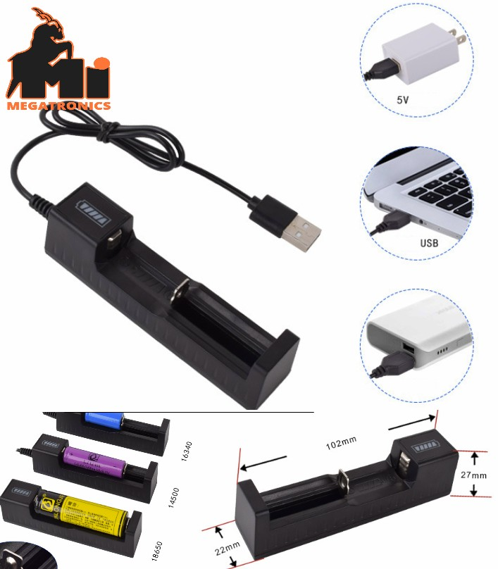 18650 Universal 1 slot Battery USB Charger adapter Rechargeable Batteries Li-ion