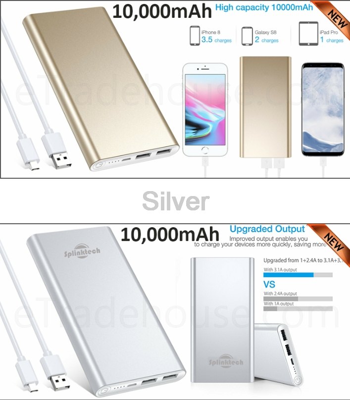 10,000mAH Dual USB Port Power Bank Backup battery