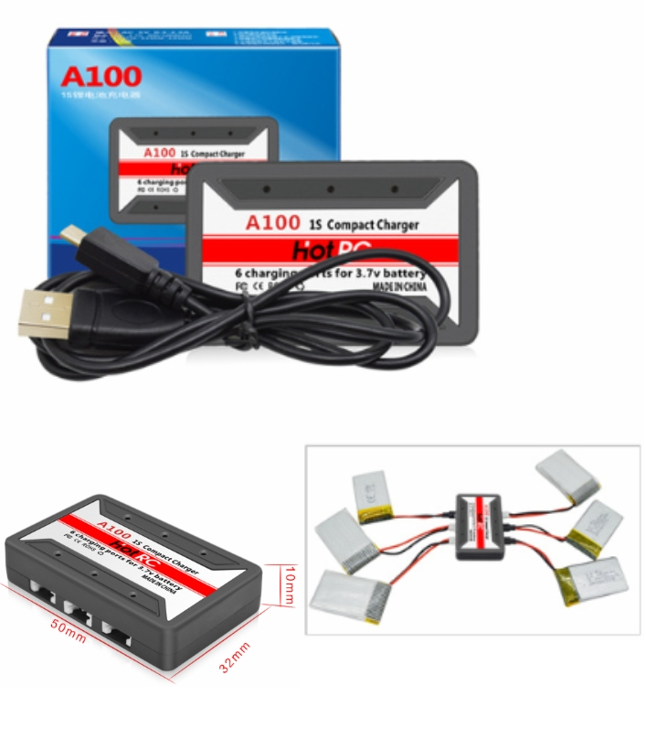A100 6 3.7V USB Lipo Battery Charger 6 in 1 HotRc