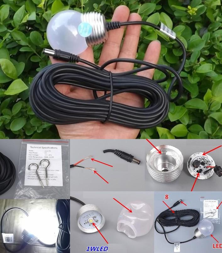 1W LED light DC 12V 24V 8 meters power line