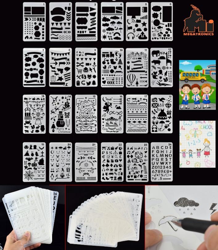 24 DIY craft stencils drawing layering Templates f