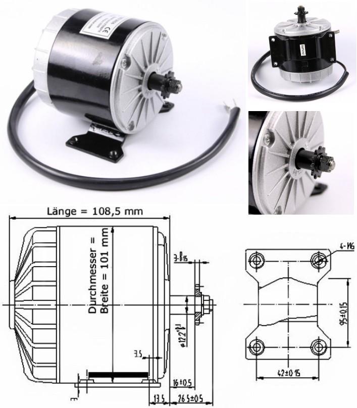 MY1016 350W 24V DC Motor 11 Tooth gear ebike bicyc