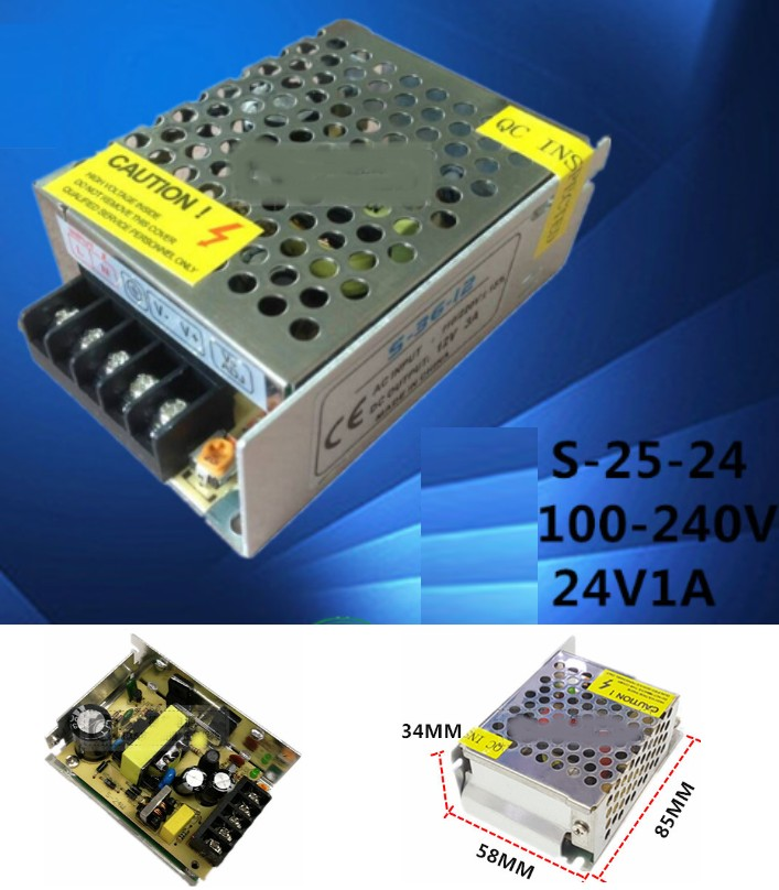 AC 110/220V- 24V 1A Switch Mode Power Supply 24W