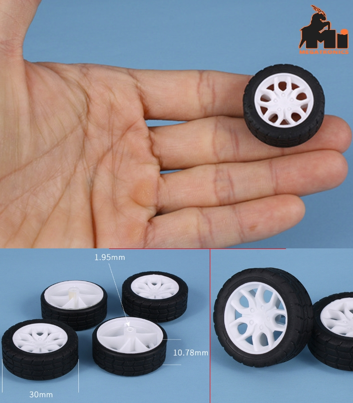 30mm toy wheel tyre tire rubber coated wheel simulation wheel DIY toy accessorie