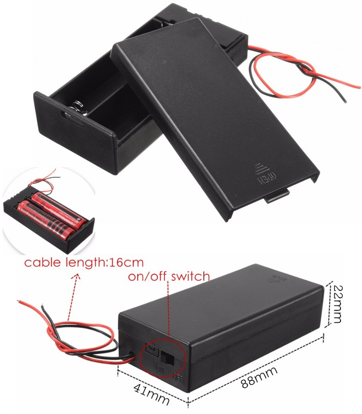 2×18650 7.4V Battery Holder with ON/OFF Switch