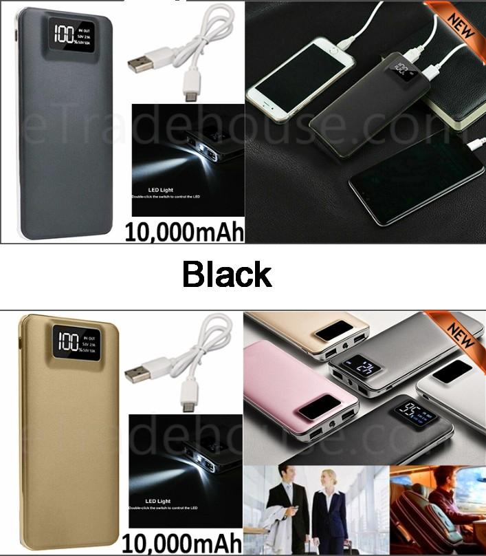 10,000mAH Dual USB Port Digital Power Bank Backup