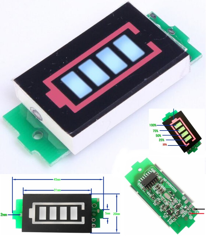 2S battery voltage indicator display 7.4 to 8.4V