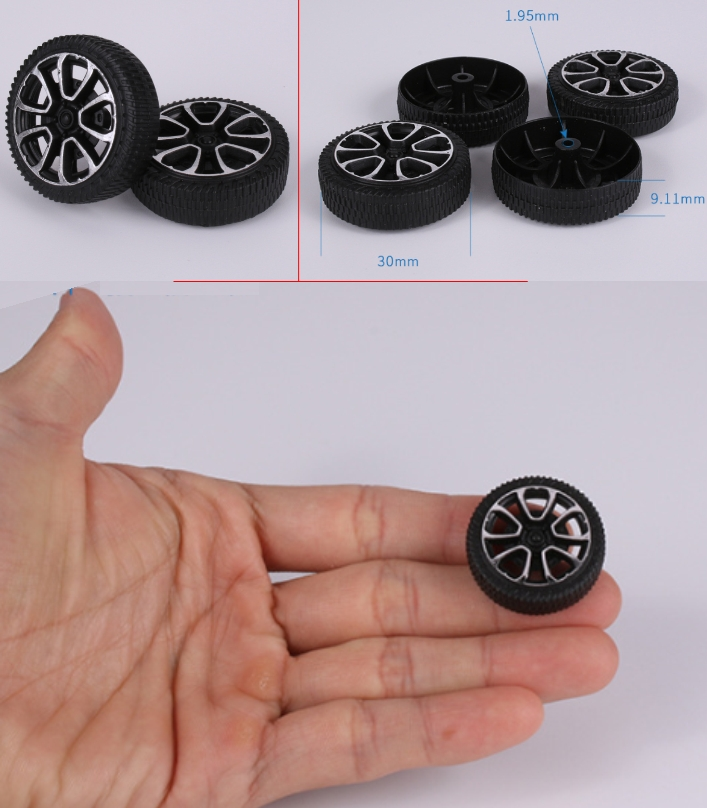 DIY Science 30mm toy wheel plastic tyre simulation