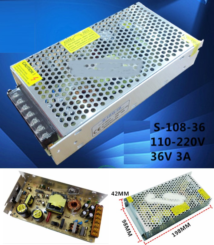 AC 110/220V- 36V 3A Switch Mode Power Supply 108W