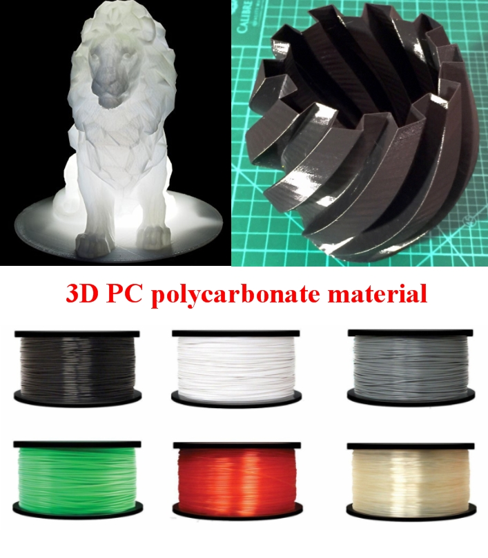 black 1.75mm Polycarbonate PC Filament 1kg 3D Prin