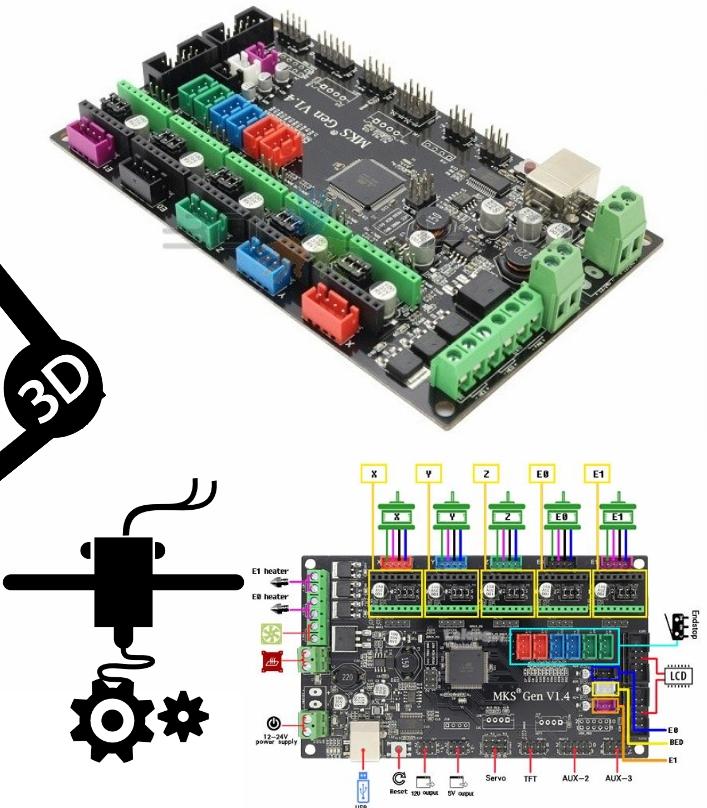 MKS Gen V1.4 RepRap Ramps1.4 3D printer control bo