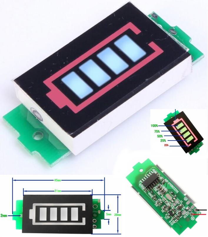 3S 11.1-12.6V battery voltage indicator meter
