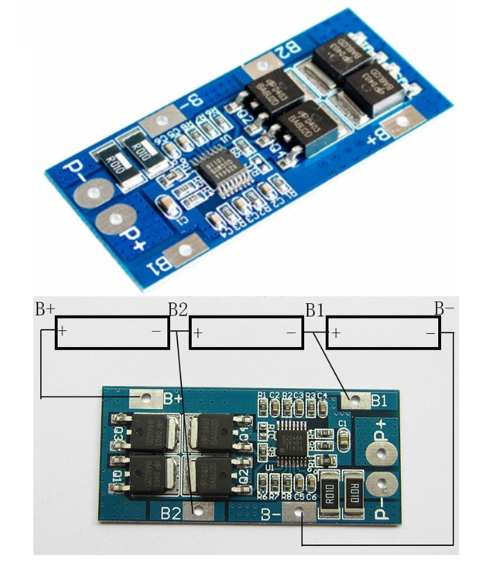3S 18650 10A 11.1V BMS battery protection board