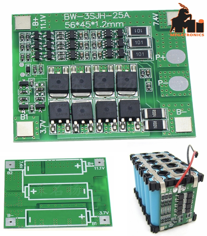 3S 25A 18650 Li-ion Lithium Battery BMS Protection