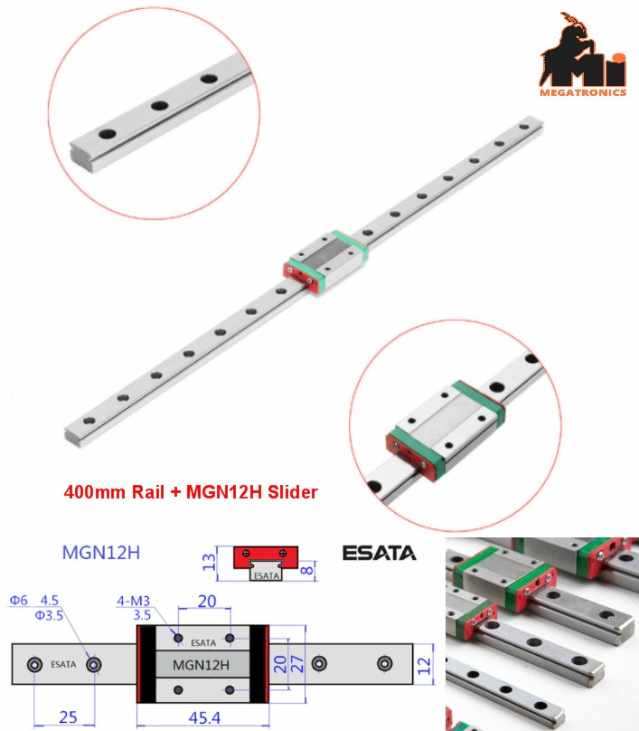 400mm Linear rail guide MGN12H slider CNC 3D print