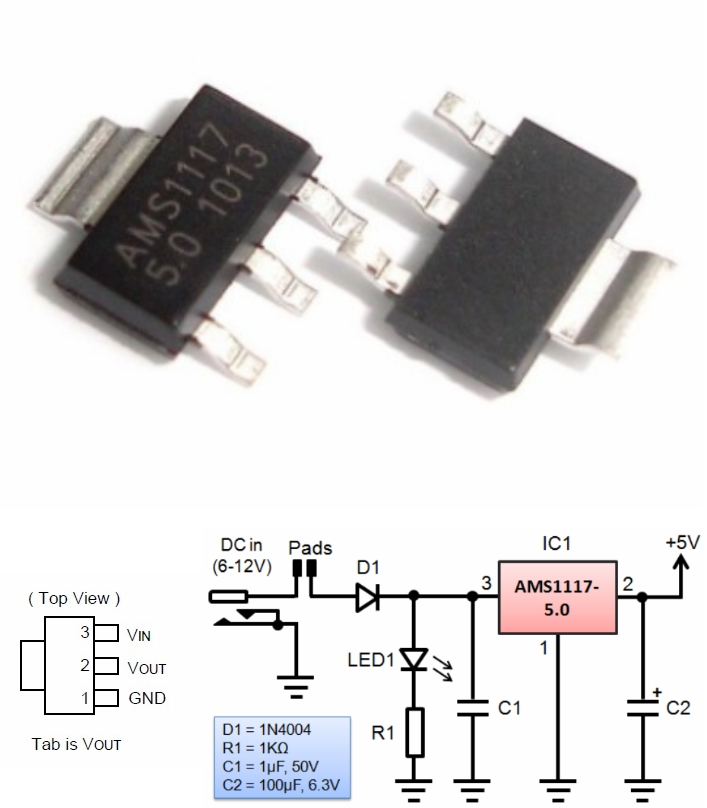 AMS1117-5.0V 5V Fixed voltage regulator SMD SOT223