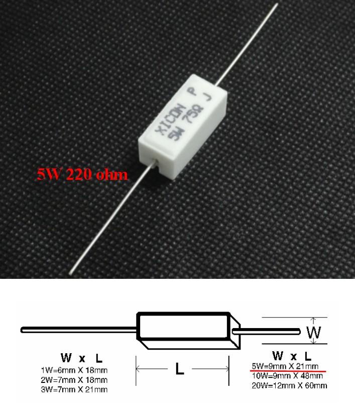 220 Ohm 5W Resistor Wire Wound 5% Tolerance