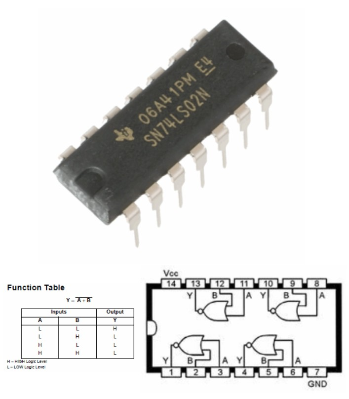 74LS02 QUAD 2-INPUT NOR GATE 7402 logic IC NOT inv