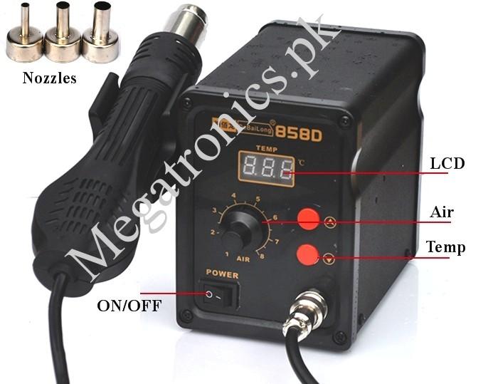 LCD 858D SMD Station Hot Air Gun Rework 3 Nozzles