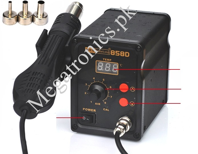LCD 858D SMD Station Hot Air Gun Rework 3 Nozzles
