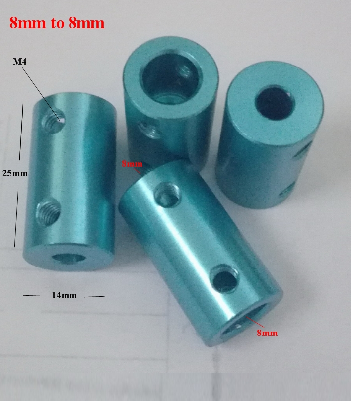 aluminum coupling 8 to 8mm coupler shaft rod blue